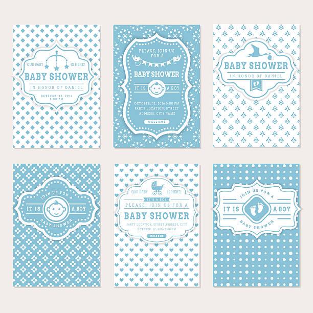ilustraciones, imágenes clip art, dibujos animados e iconos de stock de bebé showers invitaciones. - baby shower