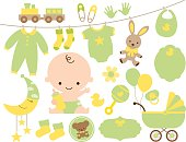 Baby Shower Item Set in Green and Yellow