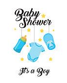 baby shower its a boy clothes bottle shoe hang decoration card vector illustration