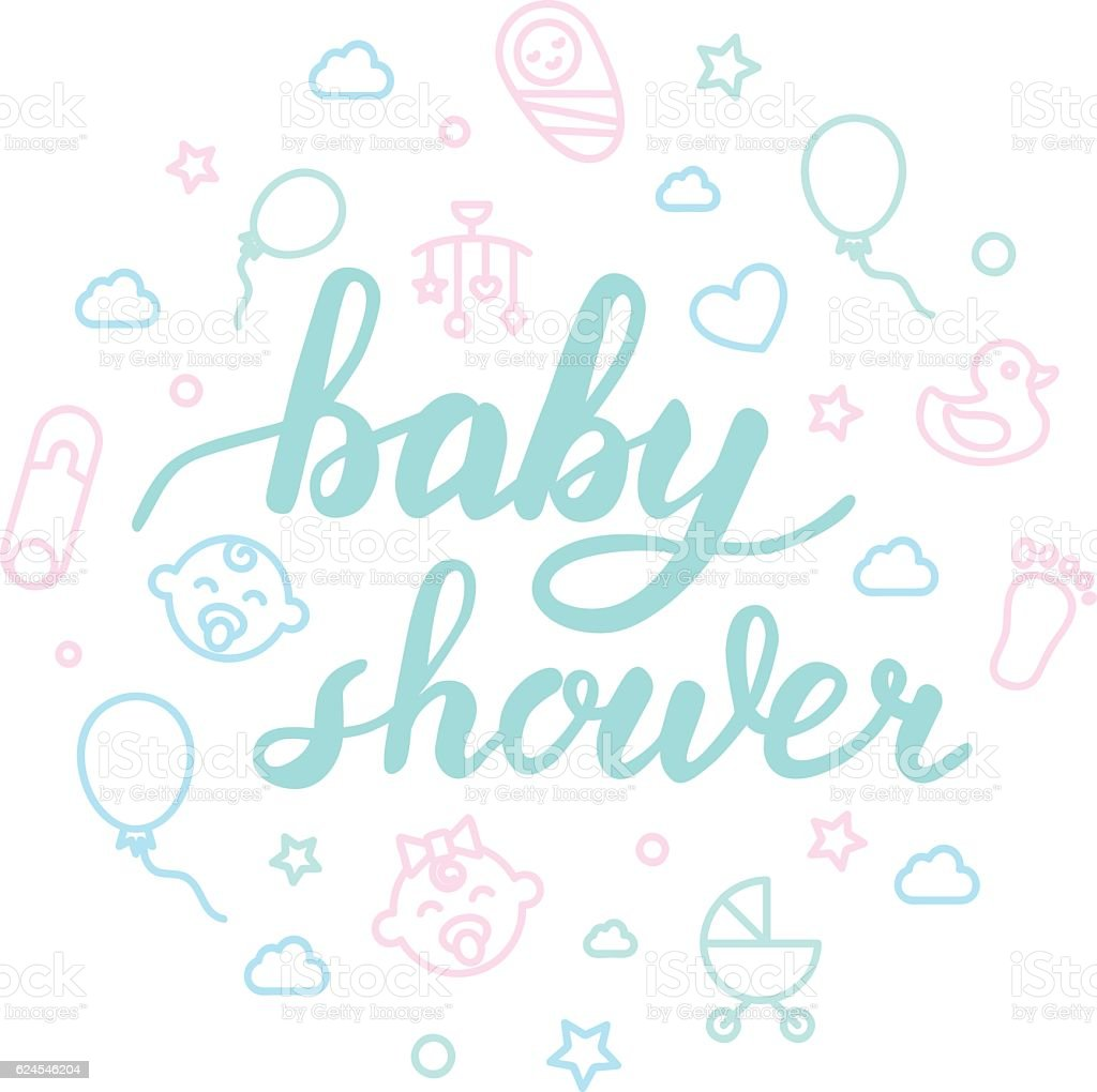 Elegant Baby Shower Lettering With Icons. Calligraphy Font Royalty Free Stock  Vector Art
