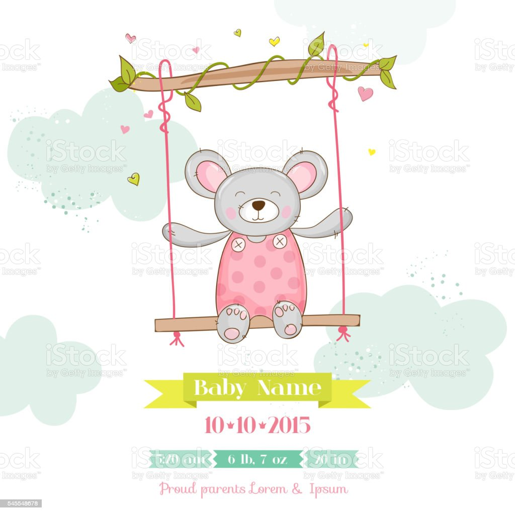 baby shower or arrival card baby mouse girl お祝いのベクターアート