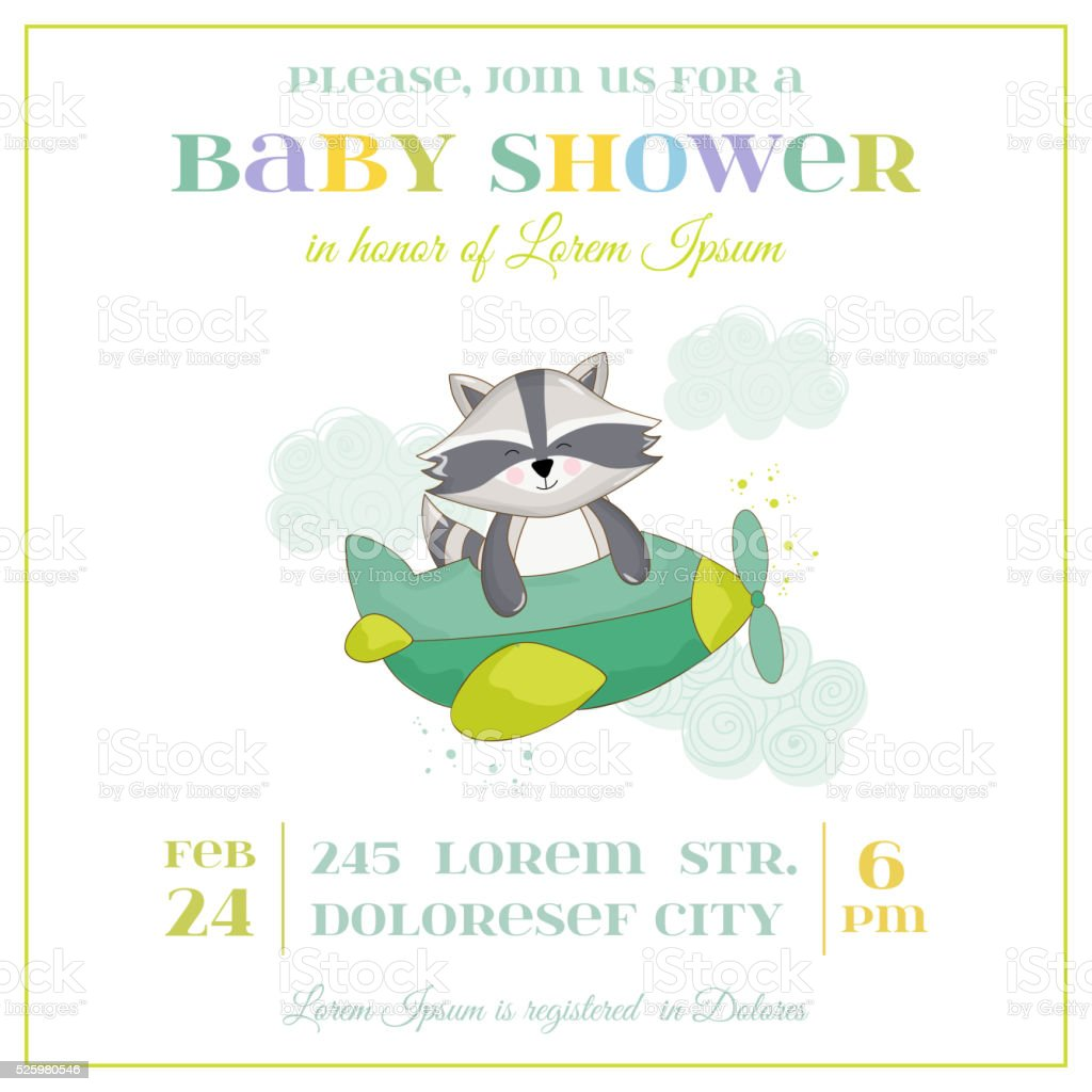 Baby Shower or Arrival Card - Baby Racoon vector art illustration