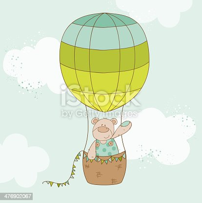 Baby Shower or Arrival Card - Baby Bear with Air Balloon - in vector