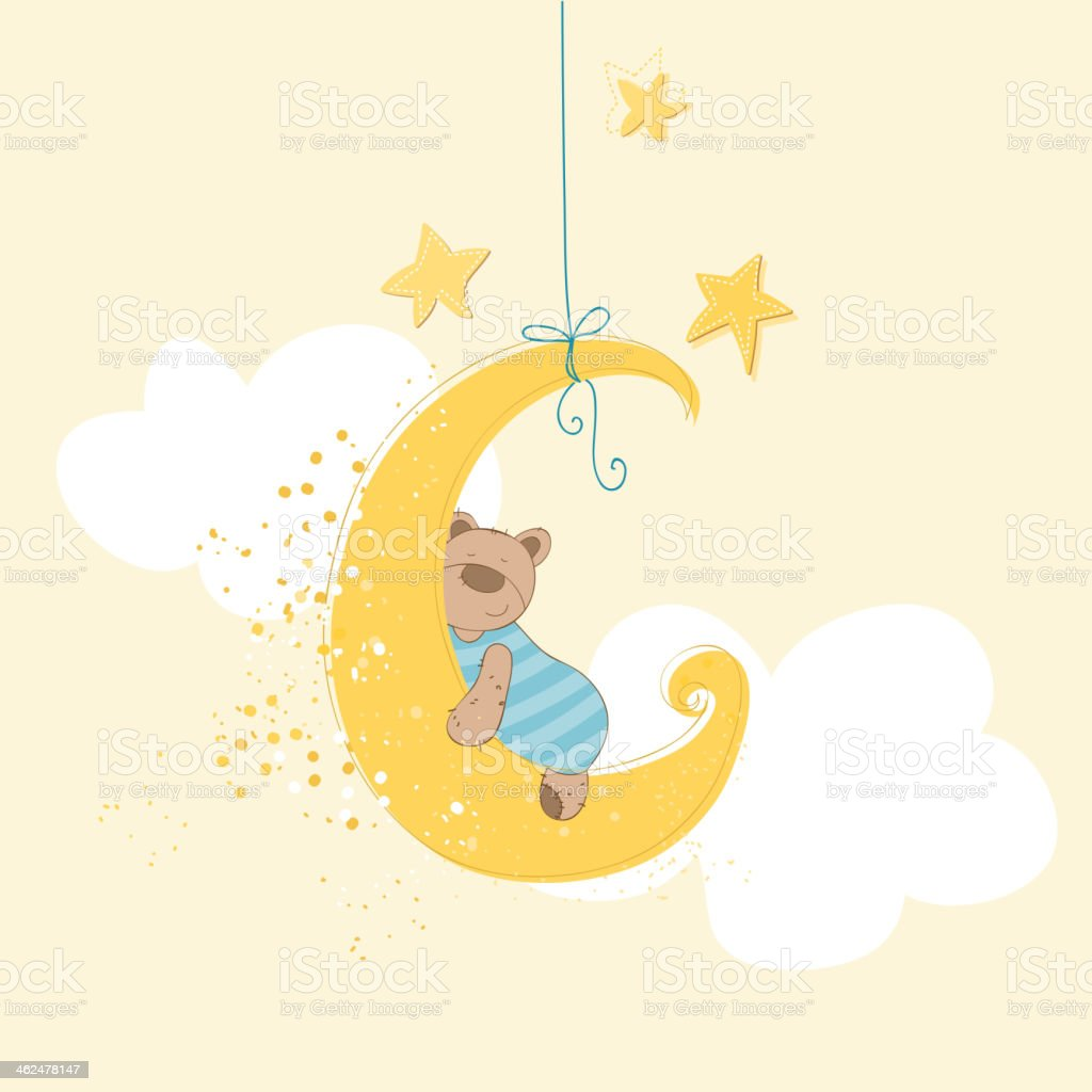 Baby Shower or Arrival Card - Sleeping Bear vector art illustration