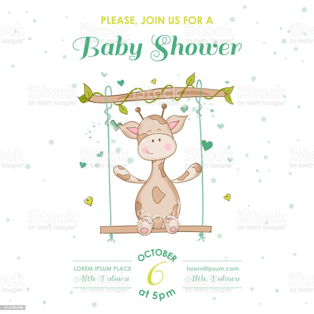 Baby Shower or Arrival Card - with Baby Giraffe vector art illustration