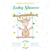 Baby Shower or Arrival Card - with Baby Giraffe