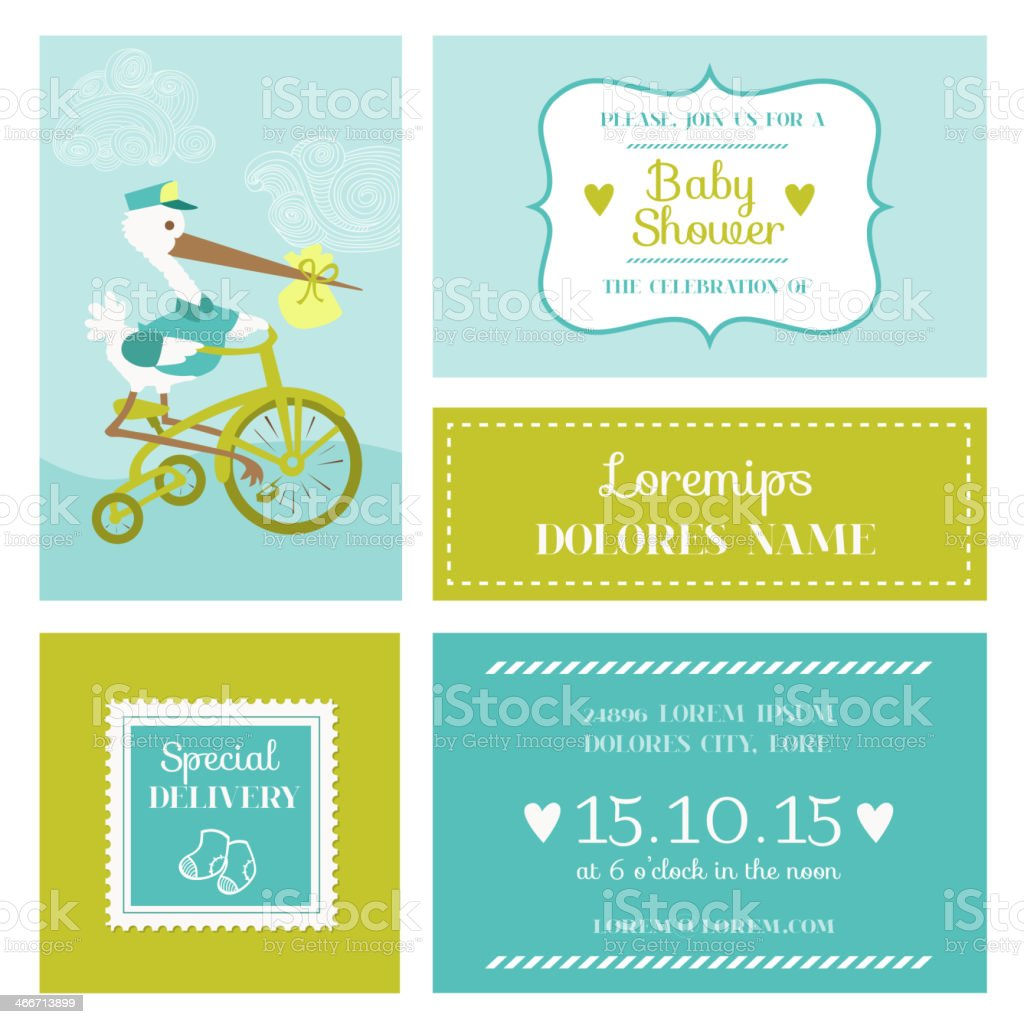 Baby Shower or Arrival Card with Stork vector art illustration