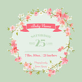 Baby Shower or Arrival Cards - with Spring Blossoms