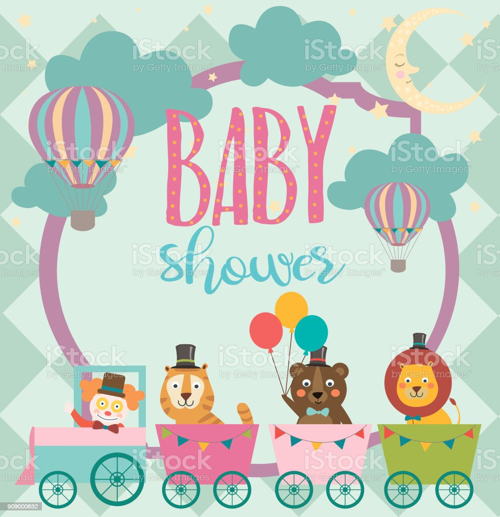 Baby Shower Party Invitation Card With Circus Theme Stock