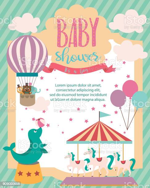 Baby shower party invitation card with circus theme vector id909000658?b=1&k=6&m=909000658&s=612x612&h=rmqv4fmgu ttwf1hxg4lbikrnzcrjo  tfp6inllizy=