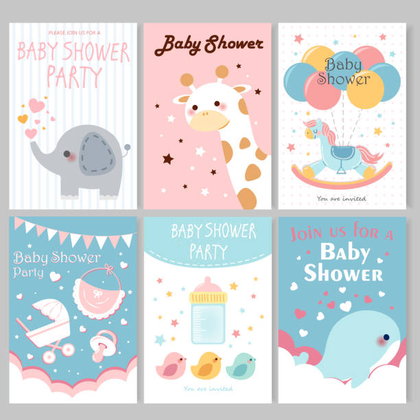 baby shower party posters - new born baby stock illustrations