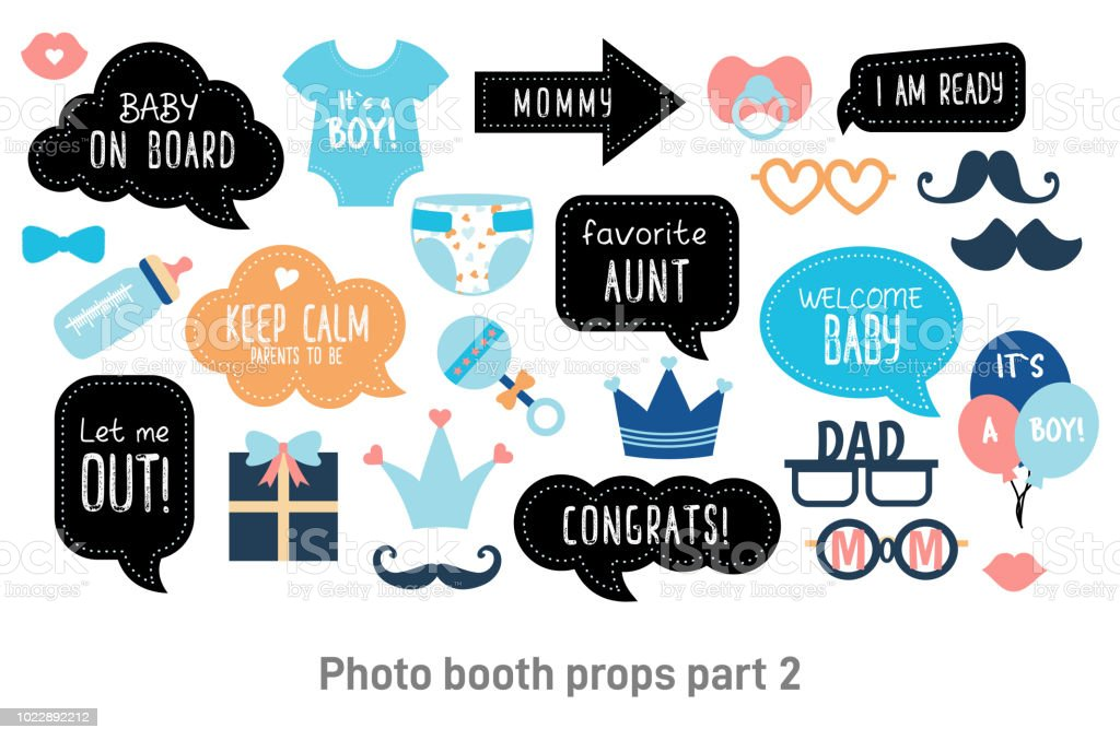 Baby Shower Photo Booth Photobooth Props Set Stock Vector Art More