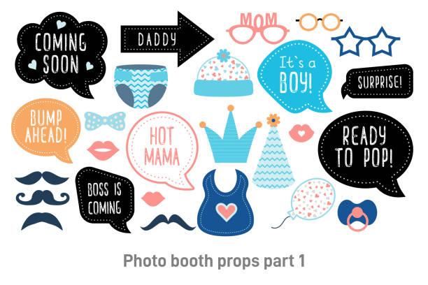 baby foto booth photobooth requisiten brauseset - tierfotografie stock-grafiken, -clipart, -cartoons und -symbole
