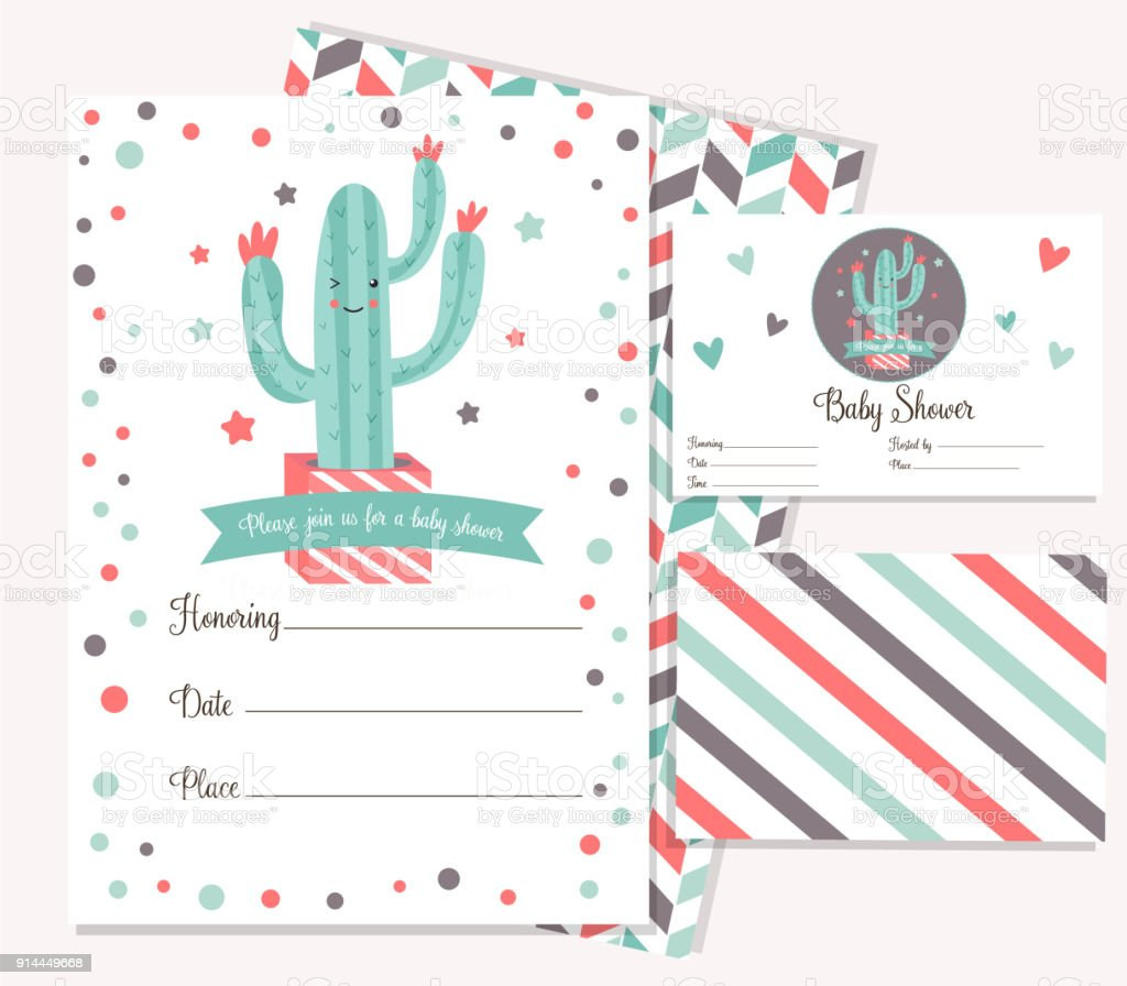 Baby Shower Poster With Cute Cactus Invitation Template Stock Vector ...