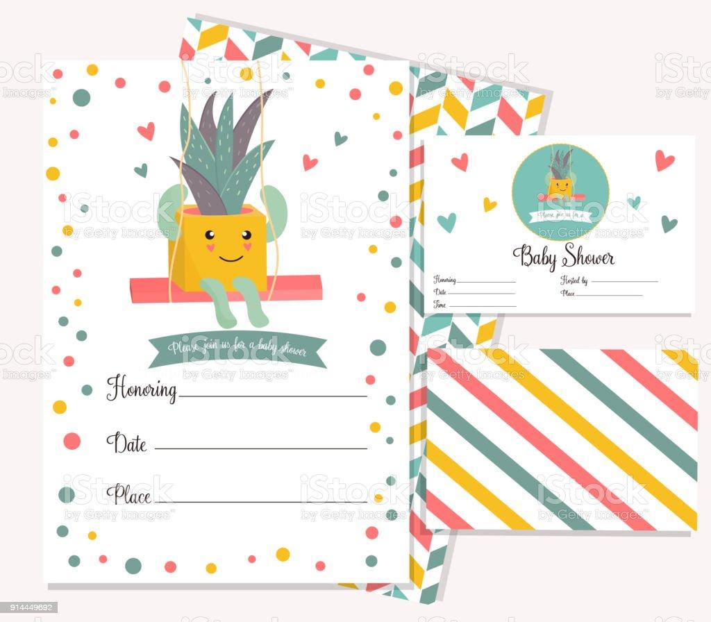 Baby Dusche Poster Mit Niedlichen Kaktus Einladung Vorlage Stock ...