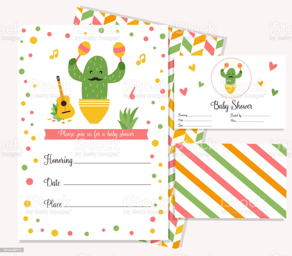 baby shower poster with cute cactus invitation template stock vector
