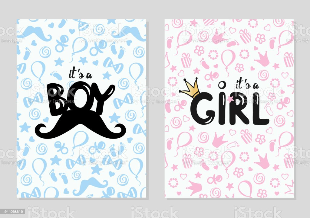 baby shower posters set vector illustration for baby boy and baby
