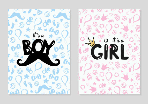 Baby shower posters set. Vector illustration for baby boy and baby girl with pattern Vector invitation with cute kids pattern. Baby arrival and shower collection with lettering. It's a girl, it's a boy greeting card. it's a girl stock illustrations