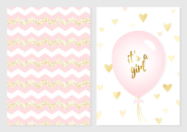 Baby shower posters set. Vector invitation with cute pink and gold kids pattern. Vector invitation with cute pink and gold kids pattern. Baby arrival and shower collection with lettering and balloon. It's a girl vector greeting card. it's a girl stock illustrations