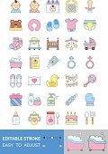 baby shower related water tub, nipple, cake, duck, gift box, pillow, book, diaper, nappy, balloons, cap, socks, carriage, teddy bear, baby faces, calendar, train and feeder vector with editable stroke
