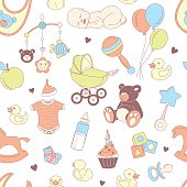 Baby shower seamless pattern. Texture for baby girl, baby boy