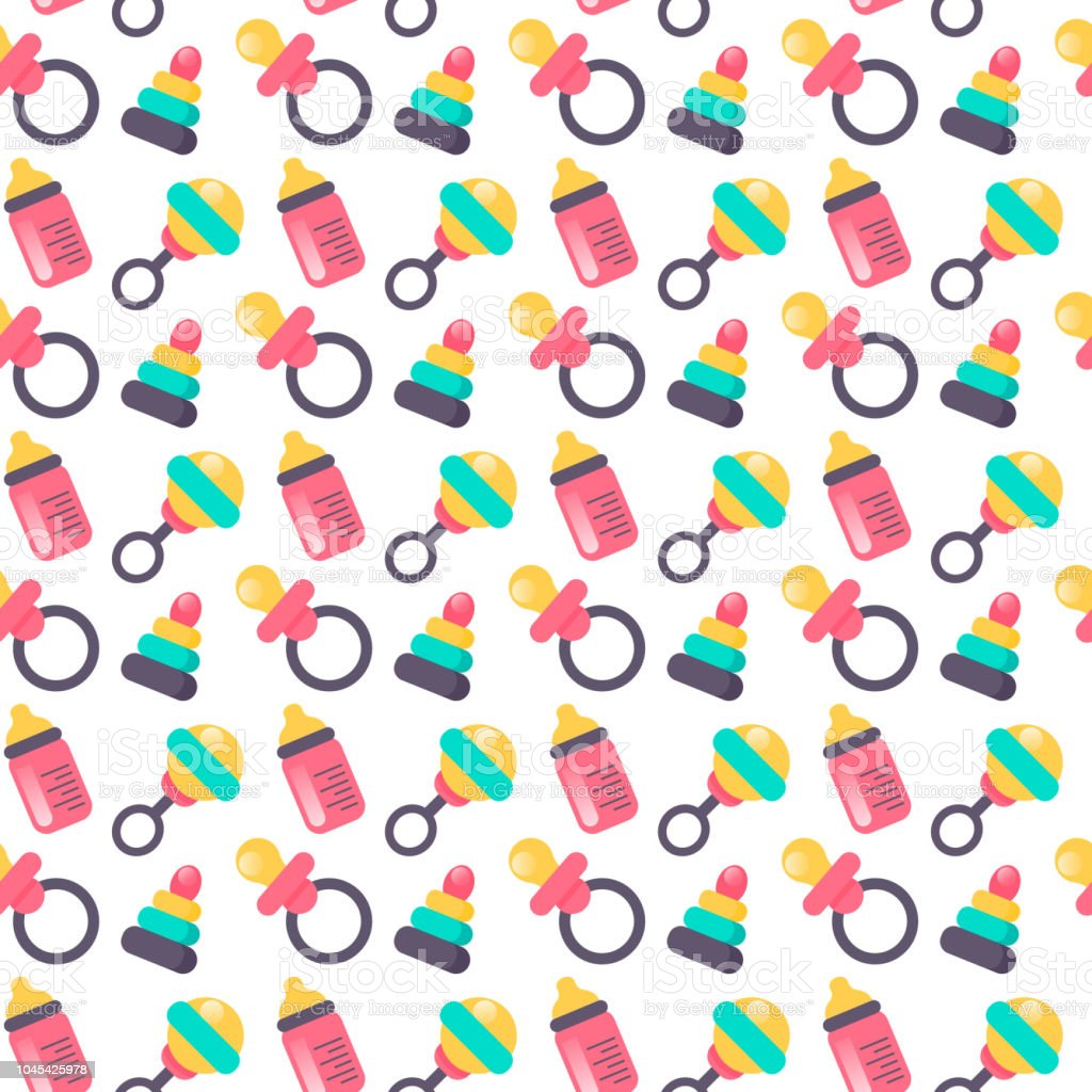 baby shower seamless pattern vector illustration cute color design for gift wrapping paper
