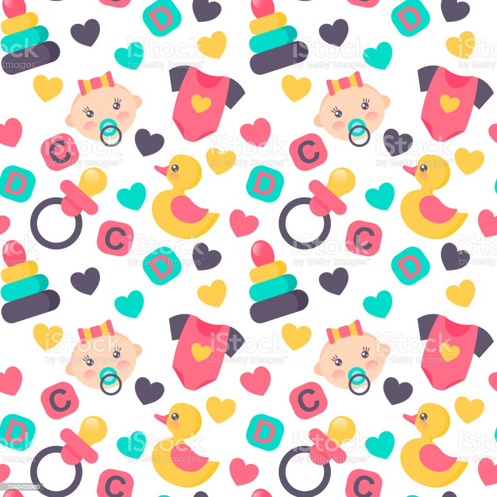 Baby Shower Seamless Pattern Vector Illustration Cute Color Design
