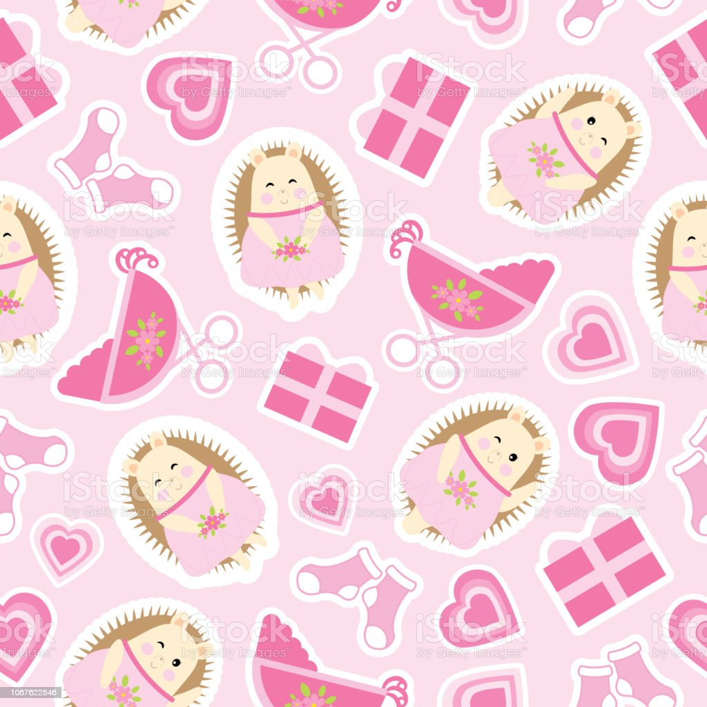 Baby Shower Seamless Pattern With Cute Hedgehog Gifts Baby Cart And Socks On Pink Background Suitable For Baby Shower Wallpaper Stock Illustration Download Image Now Istock