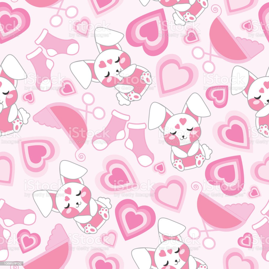 Baby Shower Seamless Pattern With Cute Rabbit Baby Cart Socks And Love On Pink Background Suitable For Baby Shower Wallpaper Stock Illustration Download Image Now Istock
