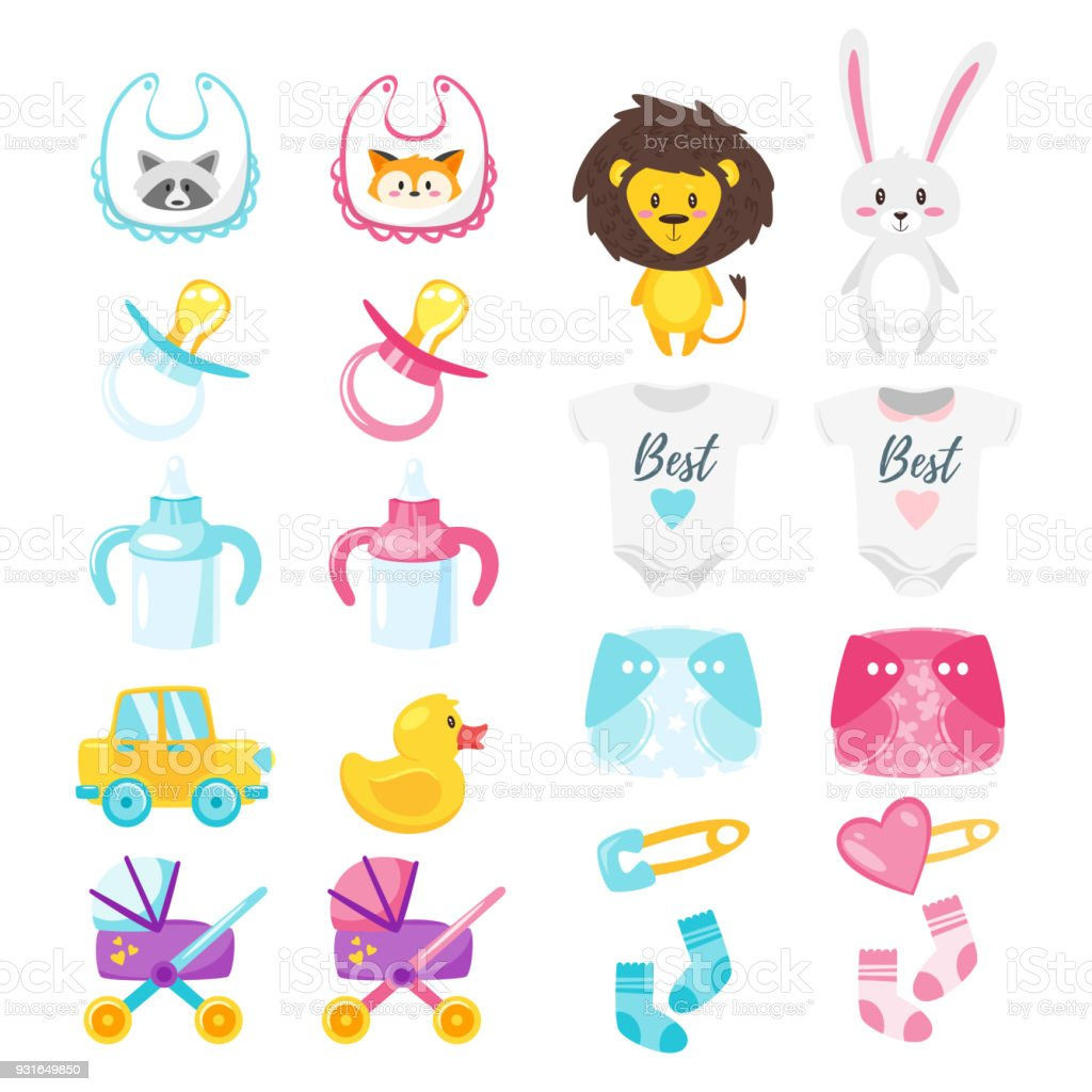 Baby shower set of symbols stock vector art more images of baby shower set of symbols royalty free baby shower set of symbols stock vector art buycottarizona Gallery