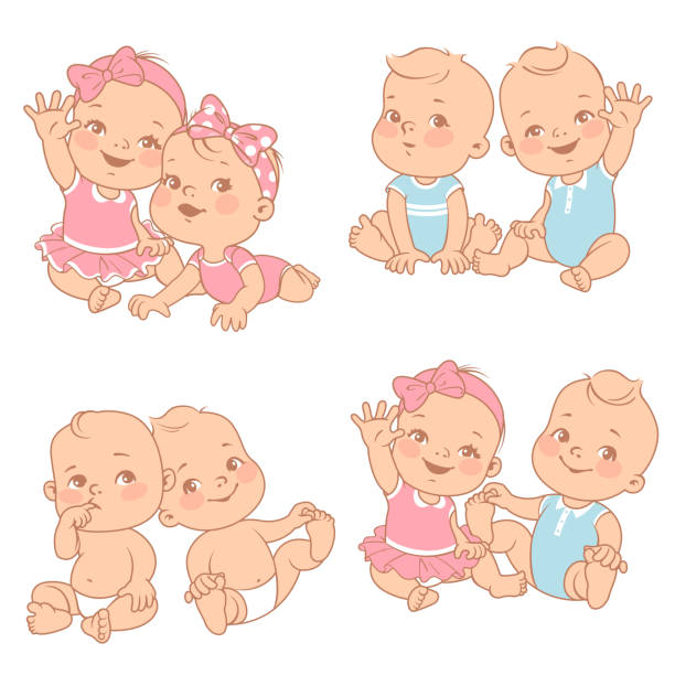 Baby shower set set with cute little twin babies. Baby shower illustration. Twin girls and boys. Different pairs of siblings. Sister and brother sitting waving hands. Vector color  illustration. baby girls stock illustrations