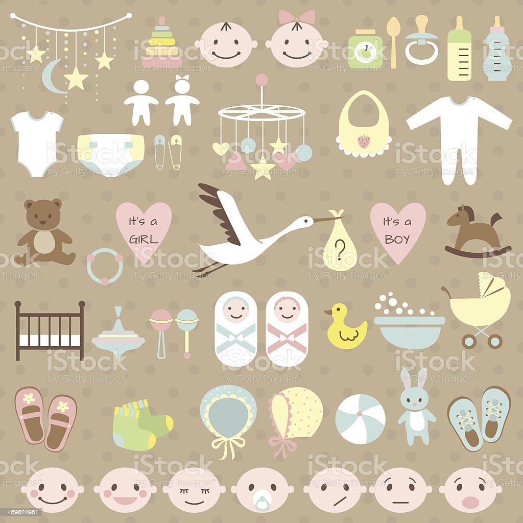 Baby shower set vector art illustration