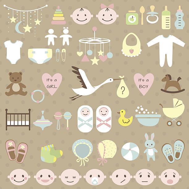 ベビーシャワーセット - 出産点のイラスト素材/クリップアート素材/マンガ素材/アイコン素材
