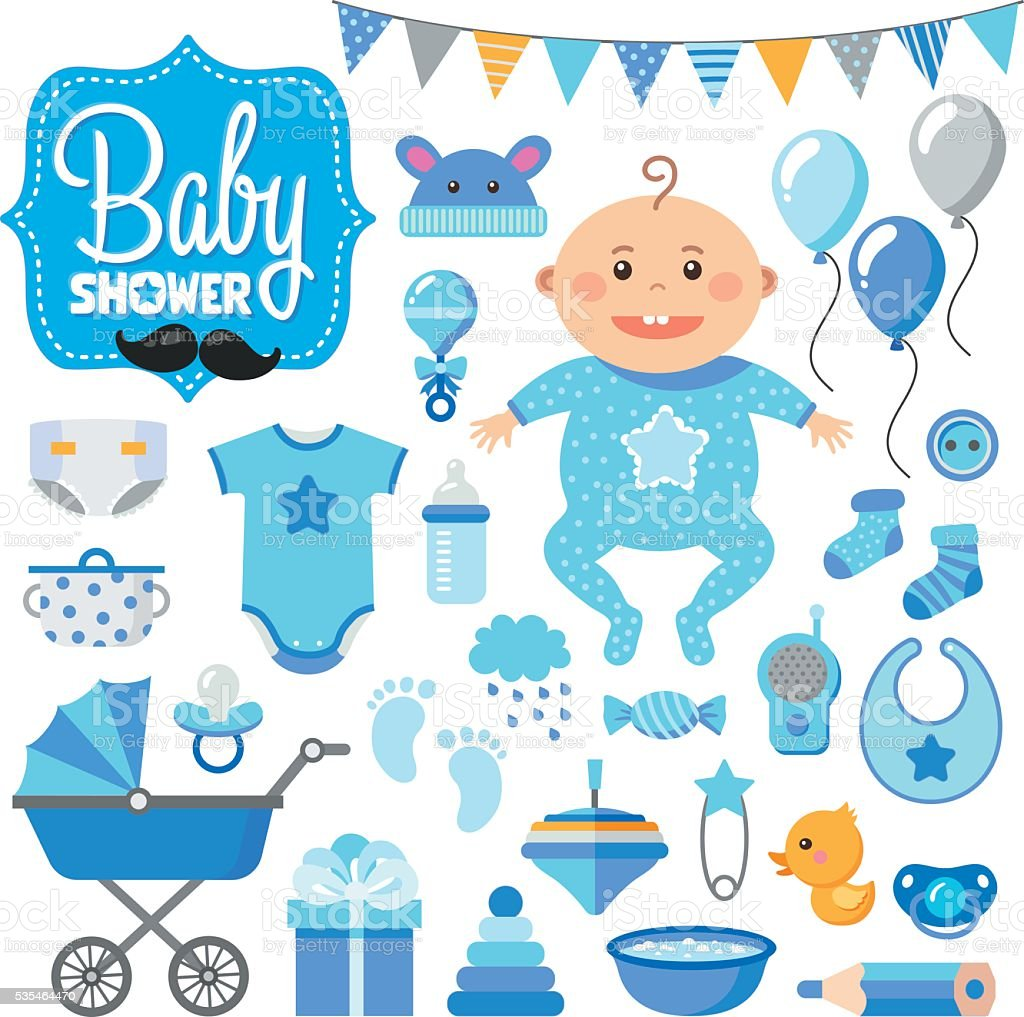 Baby Shower Set.boy vector art illustration