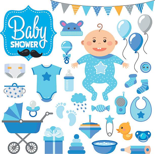 Baby Shower Set.boy vector art illustration