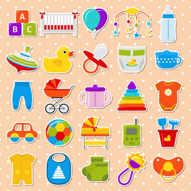 baby-dusche-aufkleber. stellen sie icons. vektor-illustration. - bodysuit stock-grafiken, -clipart, -cartoons und -symbole