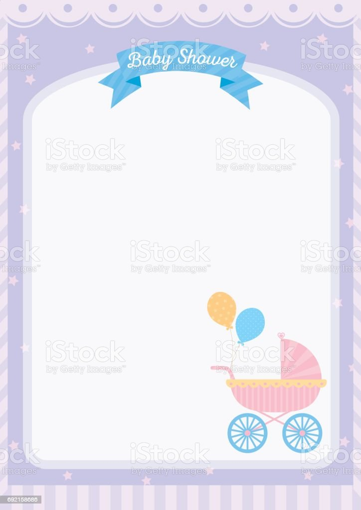 Baby Shower Template Card Decorated With Baby Carriage On Pastel Purple  Color Background.Blank Space