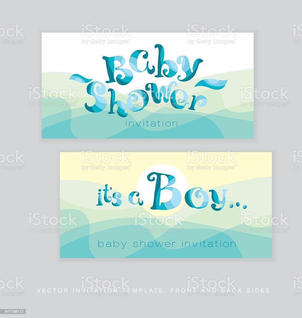 Baby Shower Template | Baby Shower Template Lettering Vector Illustration Stock Vektor Art