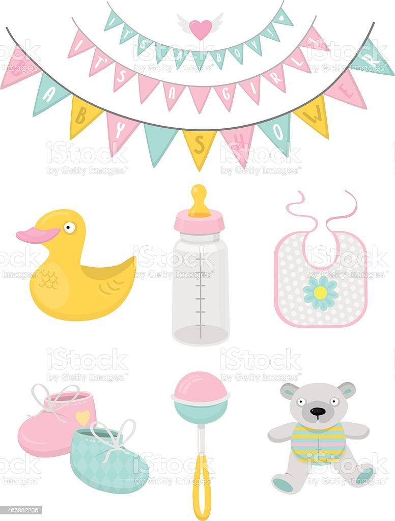 Baby shower vector art illustration