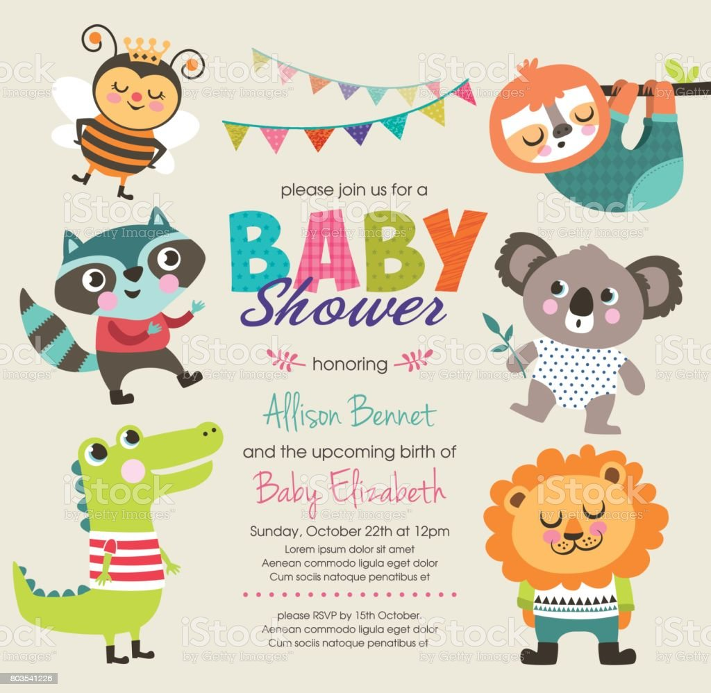 Baby shower vector art illustration