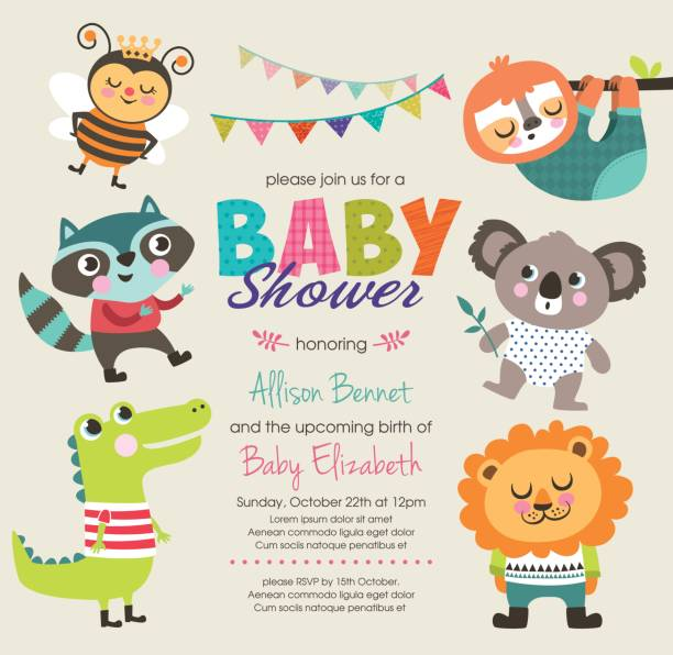 Baby shower Baby shower invitation card with cute cartoon animals baby sloth stock illustrations