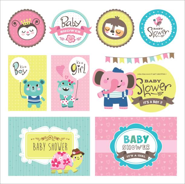 Baby shower Baby Arrival and Shower Collection with cute cartoon animals baby sloth stock illustrations