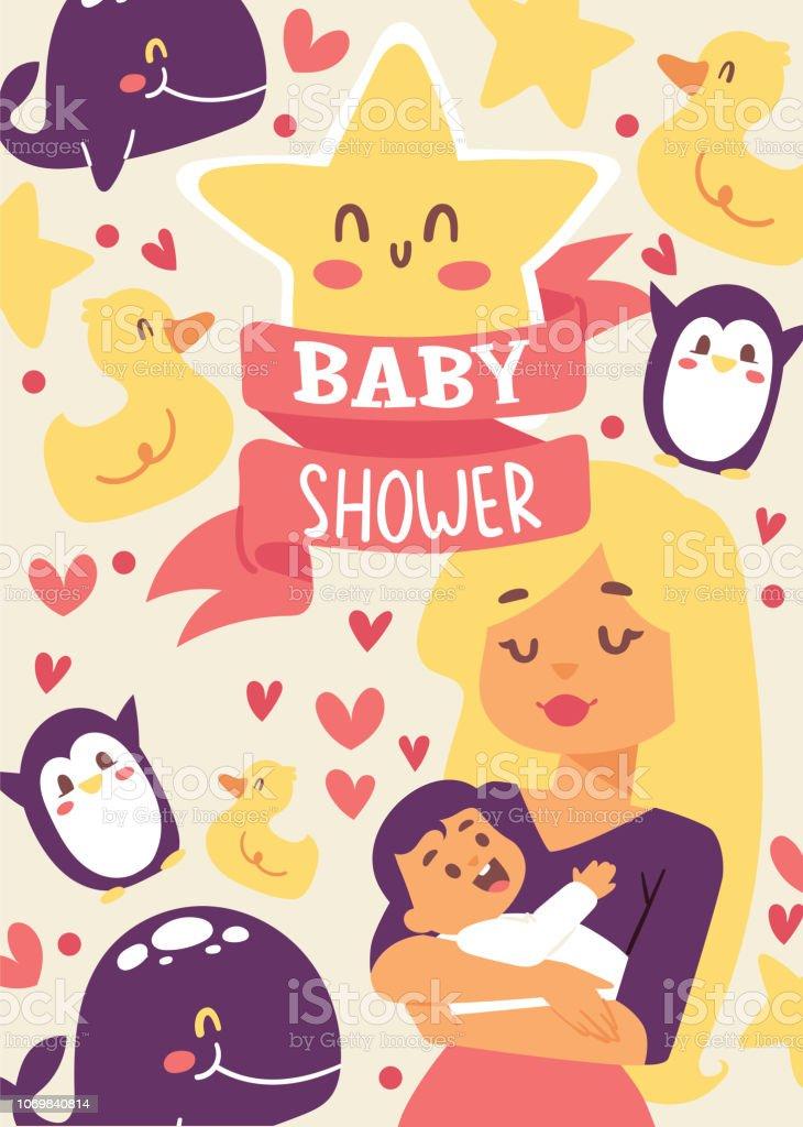 Baby Shower Vector Illustration Mother Holding Her Little Baby