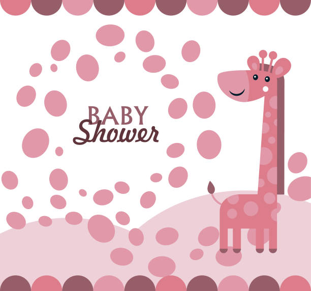illustrazioni stock, clip art, cartoni animati e icone di tendenza di baby shower with cute blue giraffe - love word