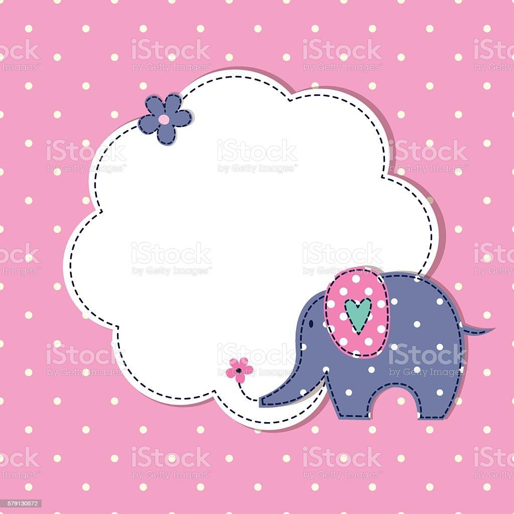 Baby shower with cute cartoon elephant vector art illustration