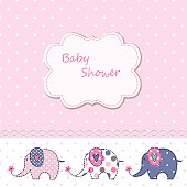 Baby shower with cute cartoon elephants