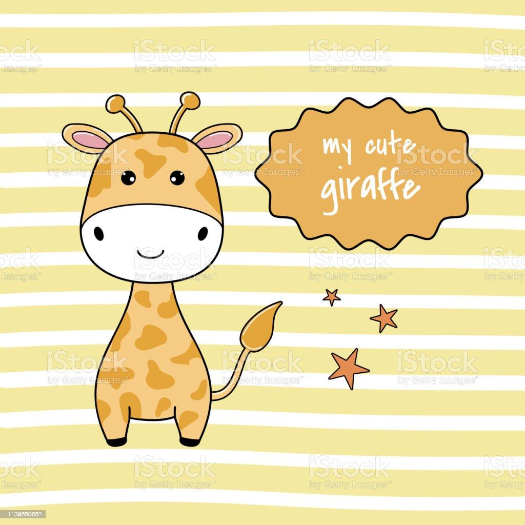 Babydusche Mit Niedlichen Zeichentrickgiraffe Stock Vektor Art Und