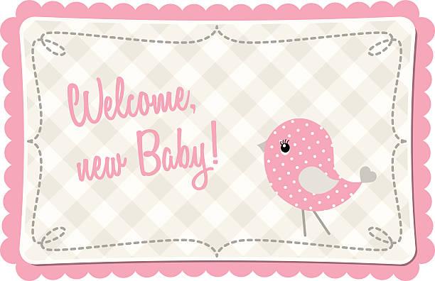 """ilustrações, clipart, desenhos animados e ícones de rosa bebê chuveiro com abstrato """" birdie"""" , ilustração - novo bebê"""