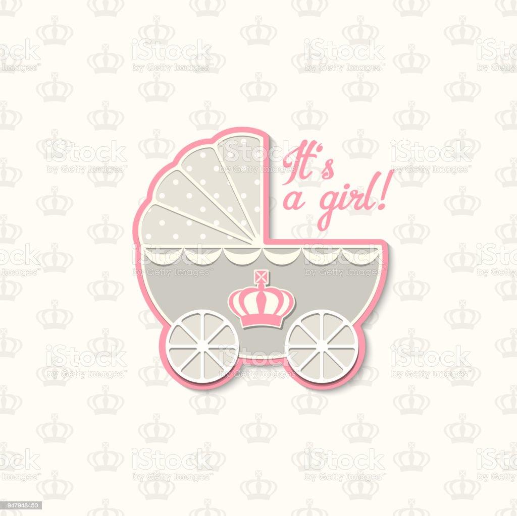 Baby Shower With Royal Crown And Blue Vintage Stroller Illustration