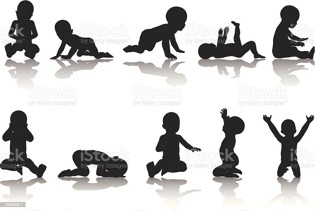Baby Silhouette Collection vector art illustration